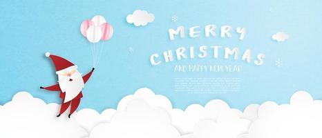 Carte de voeux joyeux Noël en style de papier découpé