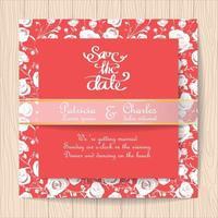 Carte d'invitation de mariage rouge avec des roses blanches