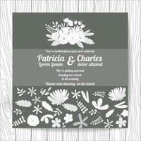 Style d'invitation de mariage style doodle avec des fleurs vecteur