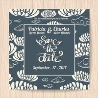 Carte d'invitation de mariage dans le style japonais vecteur