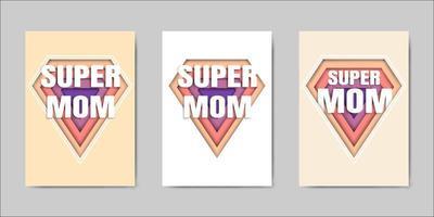 Jeu de cartes de voeux pour la fête des mères heureuse vecteur