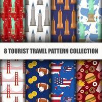 Ensemble de voyager le monde Seamless Pattern vecteur