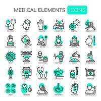 Éléments médicaux, traits fins et icônes parfaites de pixel vecteur