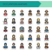 Avatars d'occupation, ligne mince et icônes parfaites de pixel vecteur