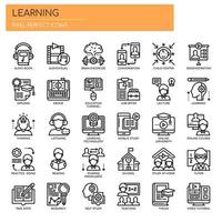 Éléments d'apprentissage, icônes de la ligne mince et des pixels parfaits vecteur