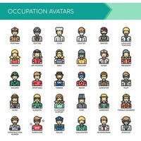 Avatars d'occupation, ligne mince et icônes parfaites de pixel