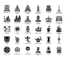 Symboles de la Chine, icônes de glyphes vecteur