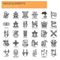 Ninja Elements, Thin Line et Pixel Perfect Icons vecteur