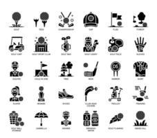 Éléments de golf, icônes de glyphes vecteur