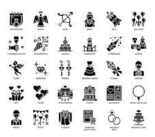 Éléments de mariage, icônes de glyphes vecteur