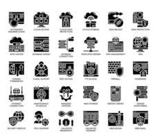 Hébergement Web, icônes de glyphes