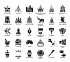 Symboles de la Thaïlande, icônes de glyphes vecteur