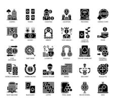 Éléments de jeu, icônes de glyphes vecteur