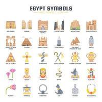 Symboles de l'Egypte, icônes de la ligne mince et des pixels parfaits vecteur