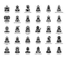 Dieux hindous, fine ligne et icônes parfaites de pixel