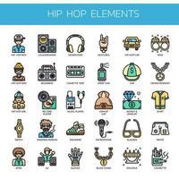 Hip Hop Elements, Thin Line et Pixel Perfect Icons vecteur