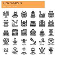 Symboles de l'Inde, icônes de la ligne mince et des pixels parfaits