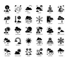 Icônes de glyphes météorologiques vecteur