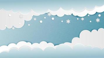 Fond de nuages avec des flocons de neige en papier coupé style vecteur