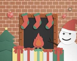 Carte de voeux fête Noël en papier découpé vecteur