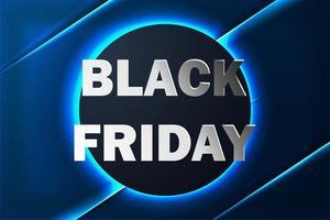 Bannière de vente vendredi noir avec fond de néon