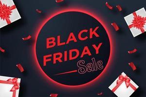 Bannière de vente rouge noir vendredi avec boîte-cadeau et confettis