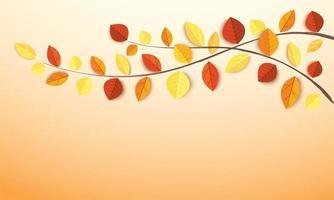 Branche d'arbre aux feuilles d'automne vecteur