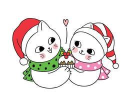 Dessin animé mignon couple de chats de Noël et petit gâteau