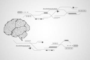 Concept de cerveau noir et blanc circuit imprimé tech