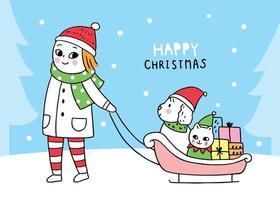 Femme de Noël traînant chien et chat assis en traîneau
