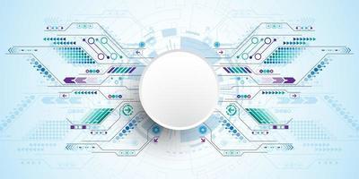 Cercle tech 3D avec des chemins de circuit de connexion vecteur