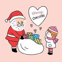 Dessin animé mignon Noël Père Noël donne un vecteur présent.