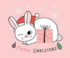 Cartoon mignons chats de Noël et cadeaux