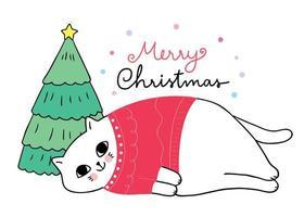 chat portant un pull rouge endormi vecteur