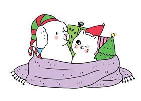 Dessin animé mignon Chien de Noël et chat et cadeaux