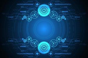 Engrenage abstrait et fond tech formes numériques vecteur