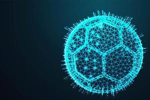 Ballon de football bleu à faible polygone vecteur