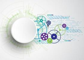 Objet rond abstrait avec le concept de circuit imprimé vert bleu vecteur