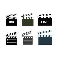 Ensemble d'icônes Clapper sur fond blanc vecteur
