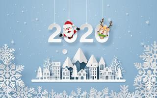 Carte postale de style origami de campagne urbaine d'hiver de nouvel an