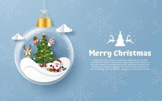 Carte postale de style d'origami d'ornement de joyeux Noël