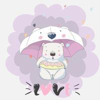 Adorable petit ours avec parapluie vecteur
