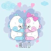 panda mignon garçon et fille vecteur