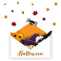 Enveloppe Halloween pour invitation de fête vecteur