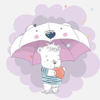 mignon bébé ours sous un parapluie vecteur