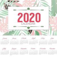 beau design de calendrier floral 2020 vecteur