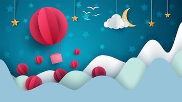 Illustration de la montgolfière. Paysage de papier de dessin animé.