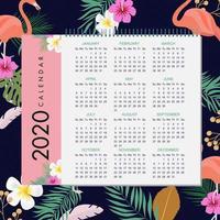 Conception de calendrier tropical 2020 vecteur