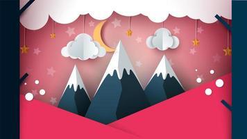 Montagne de papier - paysage de dessin animé. Nuage, lune, montagne, arbre