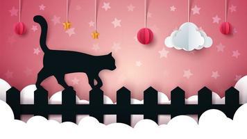 Paysage de papier de dessin animé. Illustaton de chat.